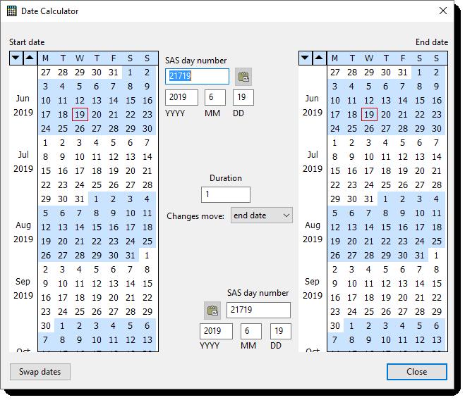 Sas date calculator in Perth